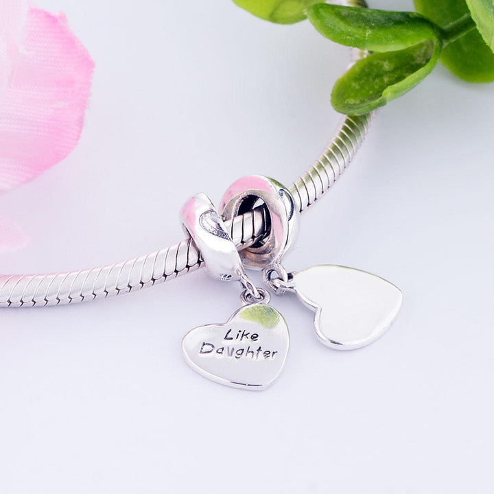 CNS Deals Charm Pendant Like Mother Like Daughter Heart 925 Sterling Silver Charm Pendant DIY S02