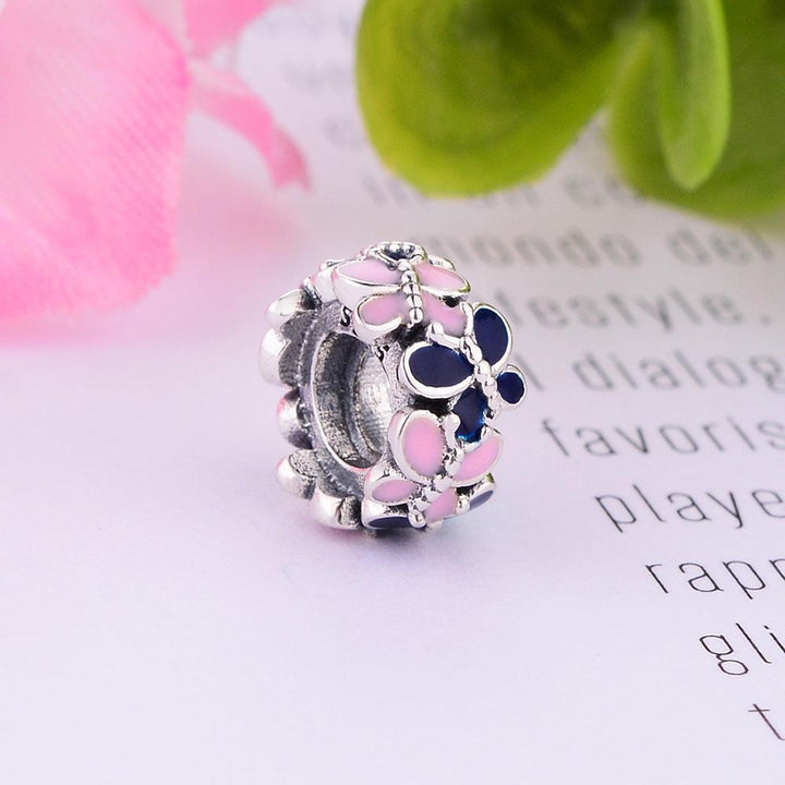CNS Deals Charm Spacer Spring Blue Pink Butterflies 925 Sterling Silver Charm Spacer S02