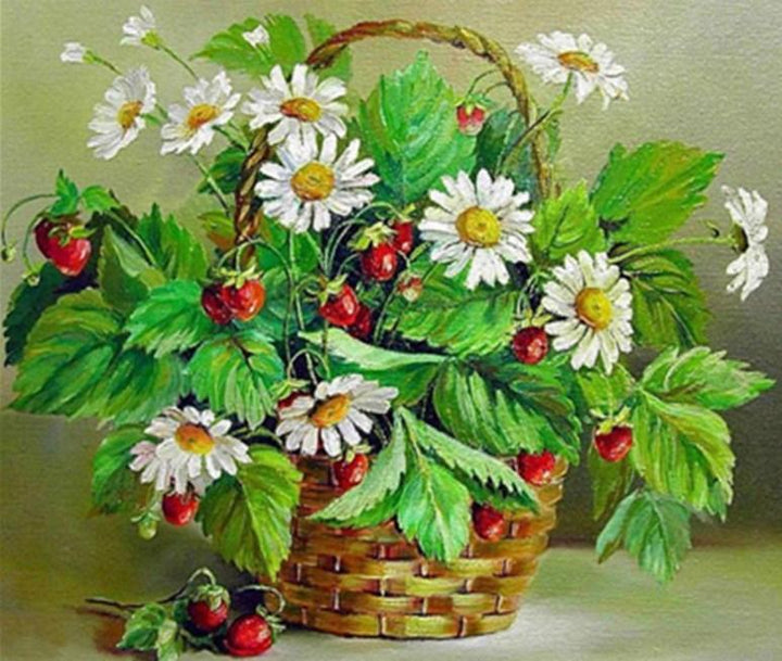 CNS Deals DIY Painting Berry Flowers Basket DIY Oil Painting Pictures By Numbers On Canvas