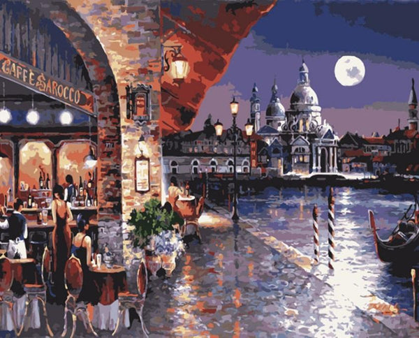 Dinner Under The Moon DIY Painting By Numbers on Canvas Kits