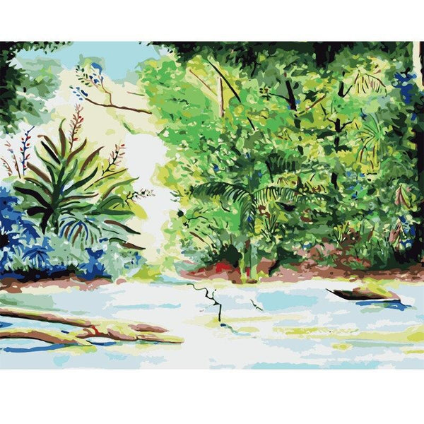Lonely Raft Trip In The Wood DIY Painting by Numbers on Canvas Art Kit S711