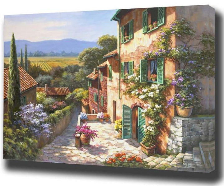 CNS Deals DIY Painting Lovely Mountain View DIY Oil Painting By Numbers Home Decor