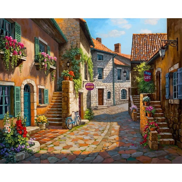 Montmartre Cafe In Paris DIY Painting by Numbers on Canvas Art Kit S711