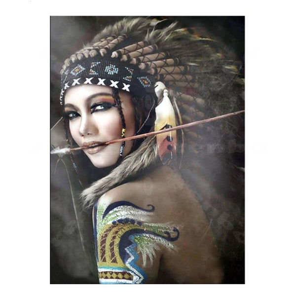 Tribal Chief of Archery Team DIY Painting by Numbers on Canvas Art Kit S711