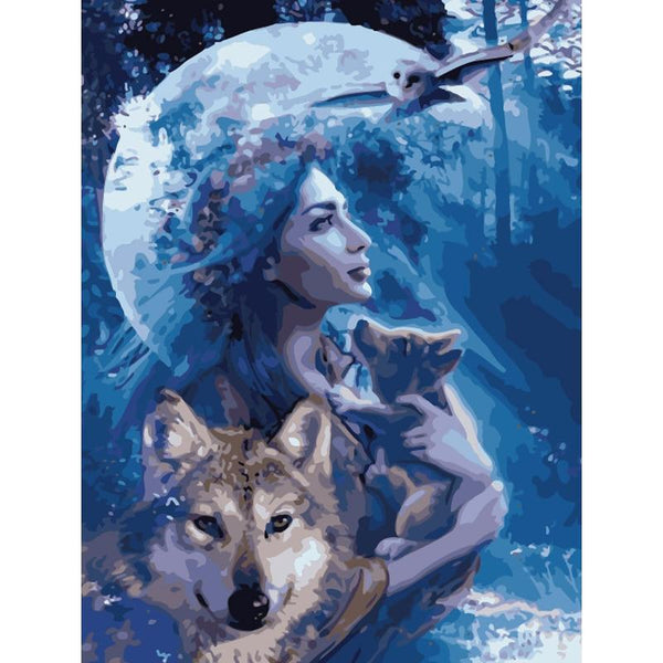 Wolf Owl Pub Goddess of Nature DIY Painting by Numbers on Canvas Art Kit S711