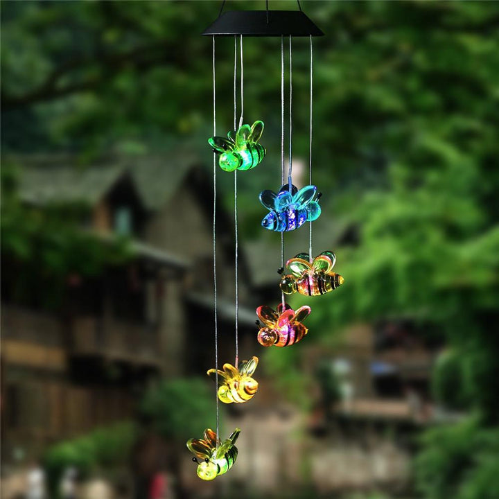 CNS Deals Lighting Cute Little Bees Solar Power LED Wind Chime