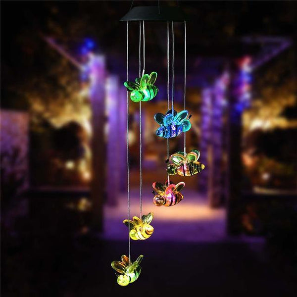 Cute Little Bees Solar Power LED Wind Chime