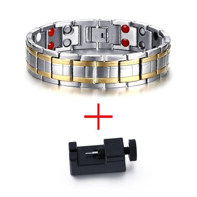 CNS Deals Men Bracelet Add tool Stainless Steel Healthy Magnet Bracelet Men Bio Energy