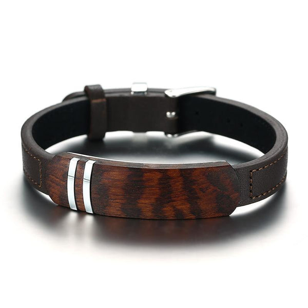 Antique Rosewood Wooden Men Bracelet with Genuine Leather