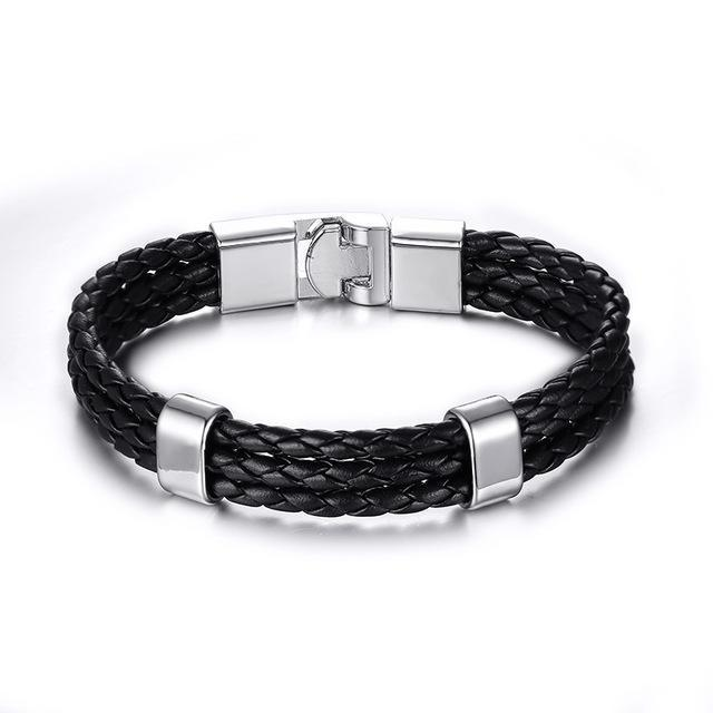 CNS Deals Men Bracelet BL030 Men Braided Bangle Bracelet with Stainless Steel Clasp