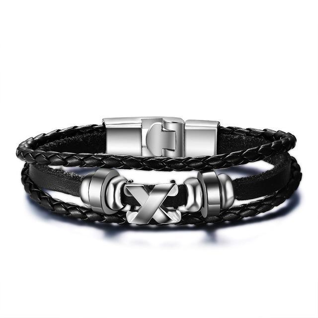 CNS Deals Men Bracelet BL050 Men Braided Bangle Bracelet with Stainless Steel Clasp