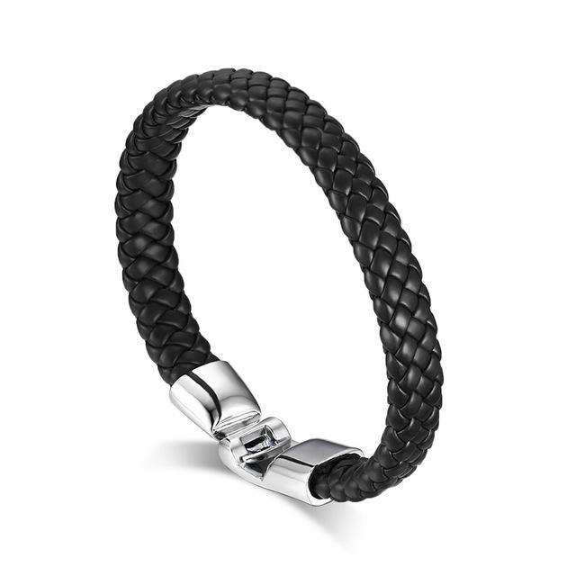 CNS Deals Men Bracelet BL066 Men Braided Bangle Bracelet with Stainless Steel Clasp