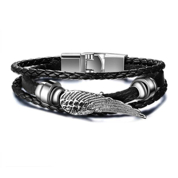 Black Braided Multi-Layers Feather Design Leather Bracelet
