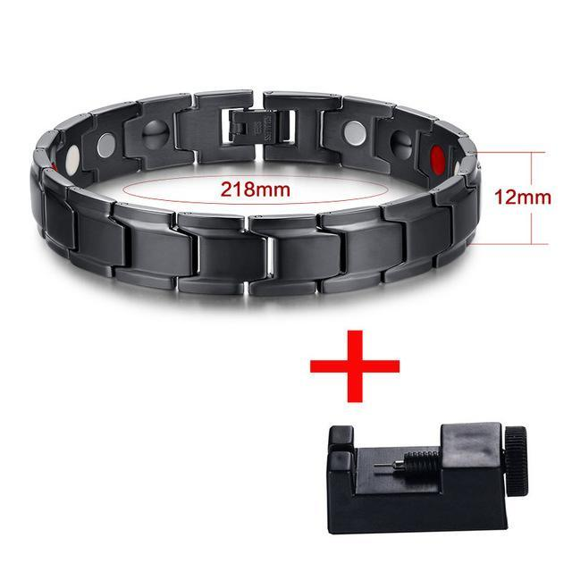 CNS Deals Men Bracelet Black color Health Magnetic Bracelet Men  Black Stainless Steel Chain