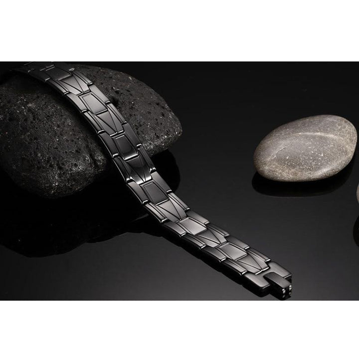 CNS Deals Men Bracelet Black Stainless Steel Men Bracelet Bangle Punk Charm