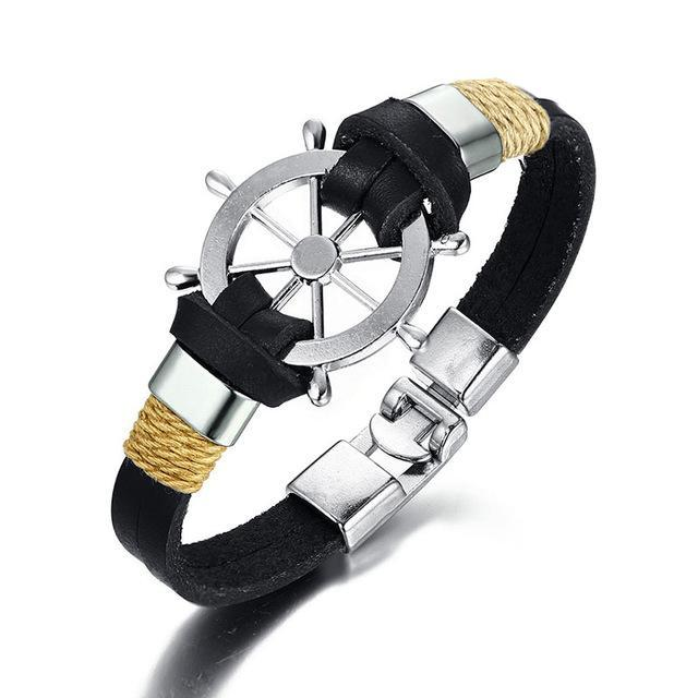 CNS Deals Men Bracelet BLACK Vintage Sailing Rudder Wheel Men Bracelet Leather Bangle