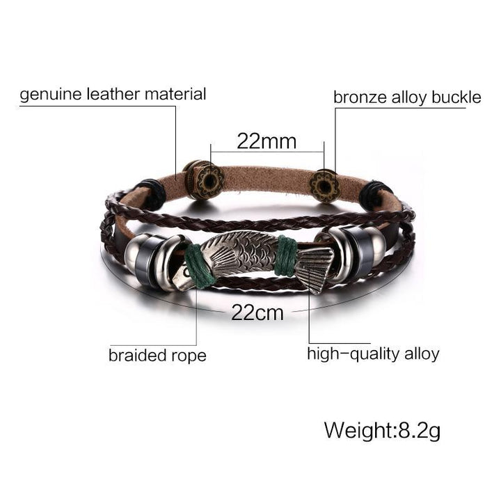 CNS Deals Men Bracelet Braided Leather Fish Charm Bracelet for Men Women