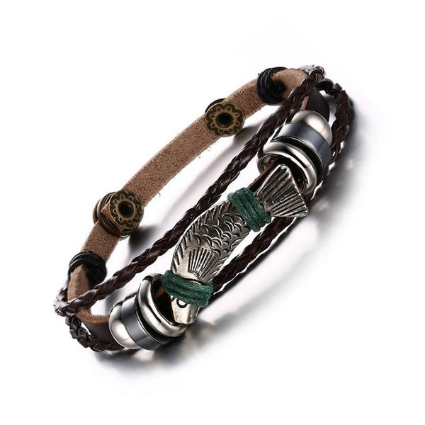 Braided Leather Fish Charm Bracelet for Men Women