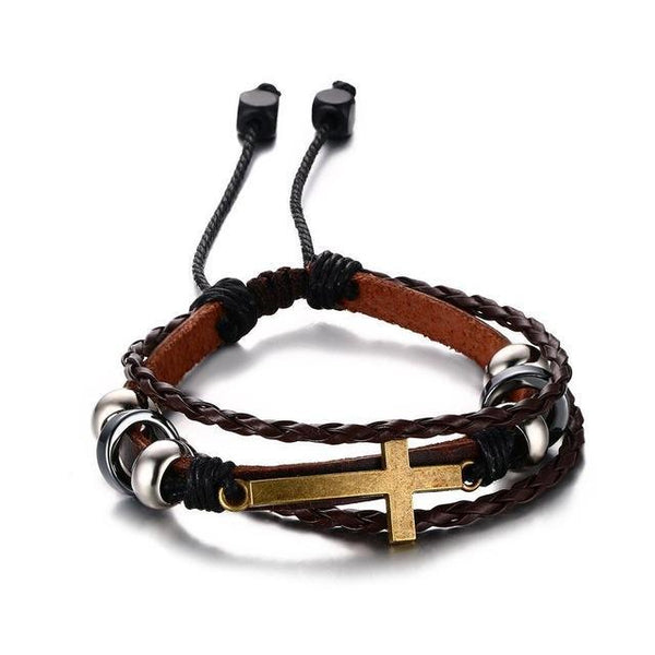 Bohemian Cross Charm Leather Bracelet for Women Men