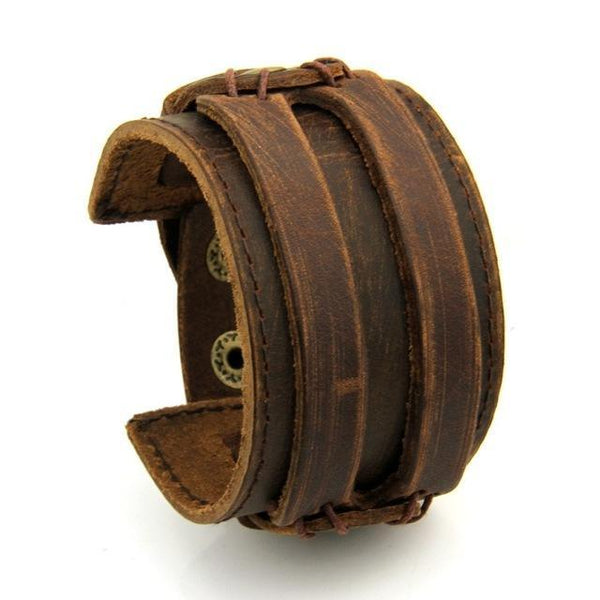 Men Double Wide Genuine Leather Rope Cuff Bracelet B01