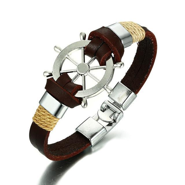 CNS Deals Men Bracelet BROWN Vintage Sailing Rudder Wheel Men Bracelet Leather Bangle