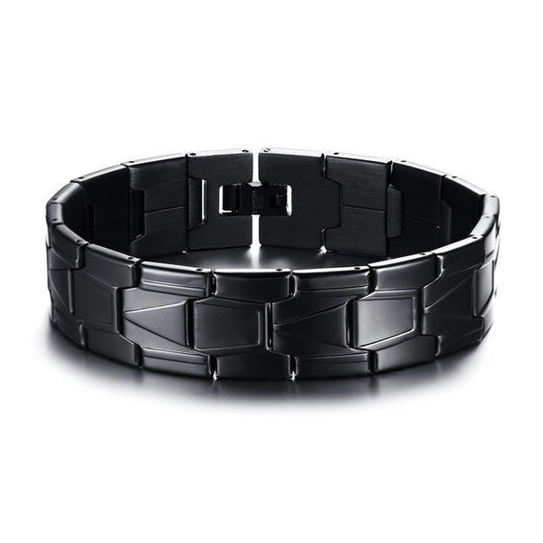 Black Stainless Steel Men Bracelet Bangle Punk Charm