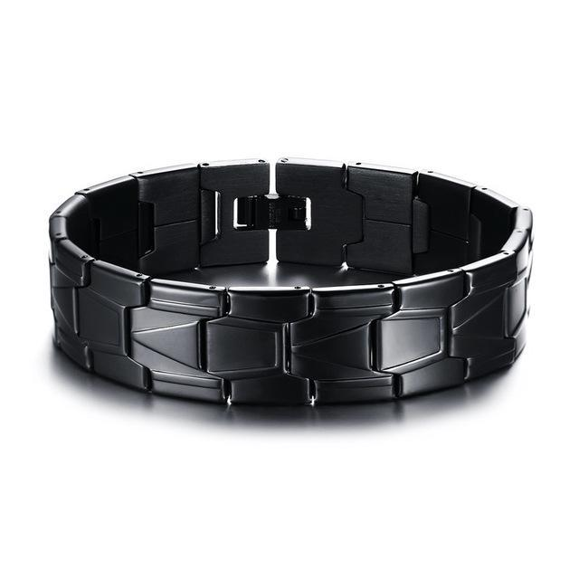 CNS Deals Men Bracelet Default Title Black Stainless Steel Men Bracelet Bangle Punk Charm