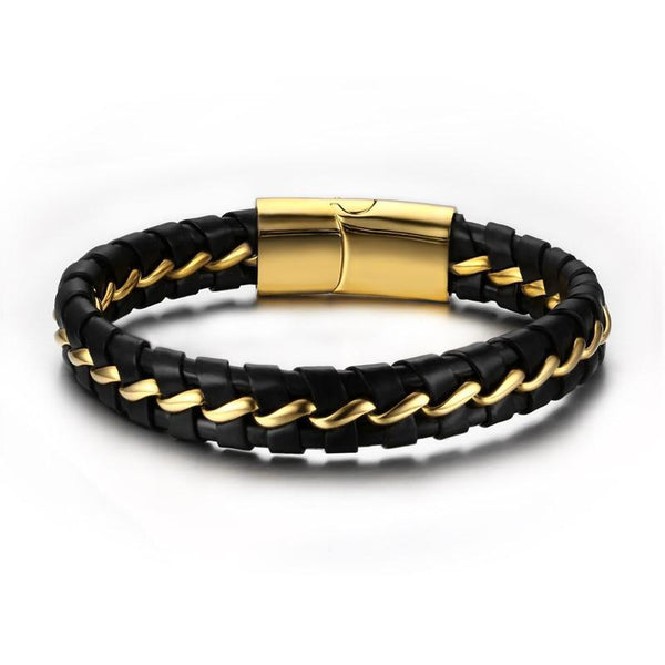 Genuine Leather Braided Bracelet For Men Black & Gold Color