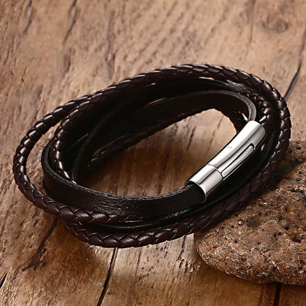 Hand-made Black Braided Real Leather Bracelet for Men Women