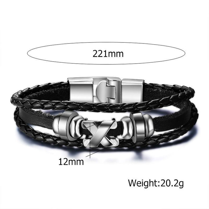 CNS Deals Men Bracelet Men Braided Bangle Bracelet with Stainless Steel Clasp