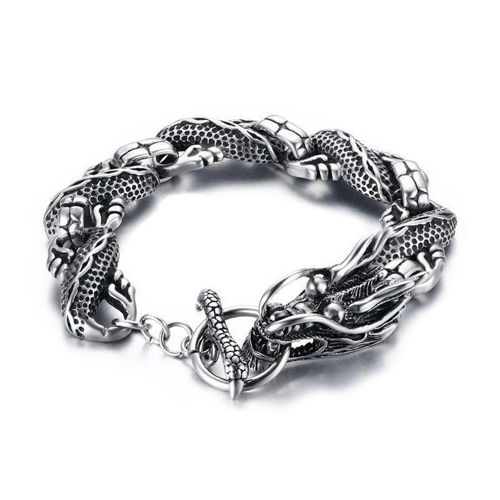 CNS Deals Men Bracelet Vintage Dragon Bracelet Stainless Steel Chain Punk Men
