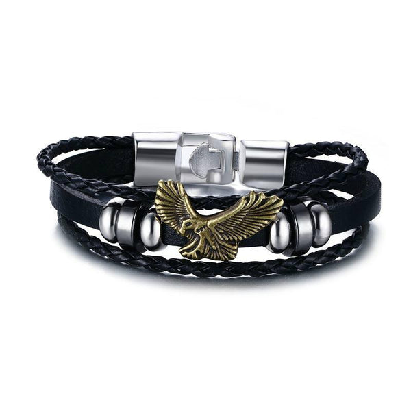 Vintage Flying Eagle Braided Leather Charm Bracelet