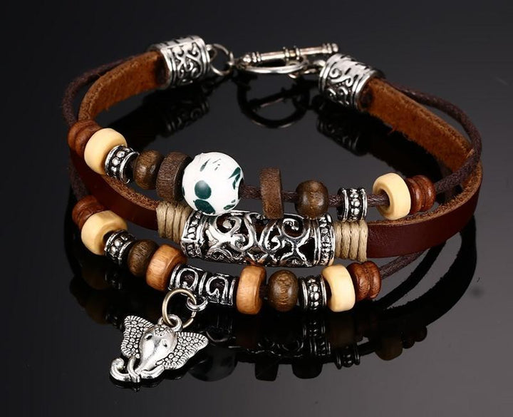 CNS Deals Men Bracelet Vintage Genuine Leather Bracelet for Men Women with Elephant Charm