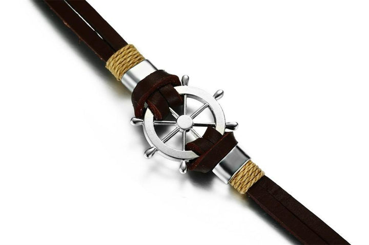 CNS Deals Men Bracelet Vintage Sailing Rudder Wheel Men Bracelet Leather Bangle
