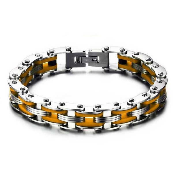 Men Bike Link Chain Bracelet Street Style