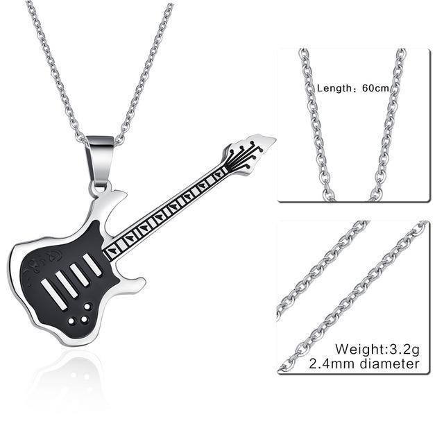CNS Deals Men Necklace 24inch 074S Trendy Guitar Pendant Stainless Steel Necklace