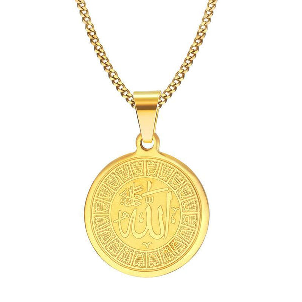 Allah Symbol Round Pendant Necklace Women Men