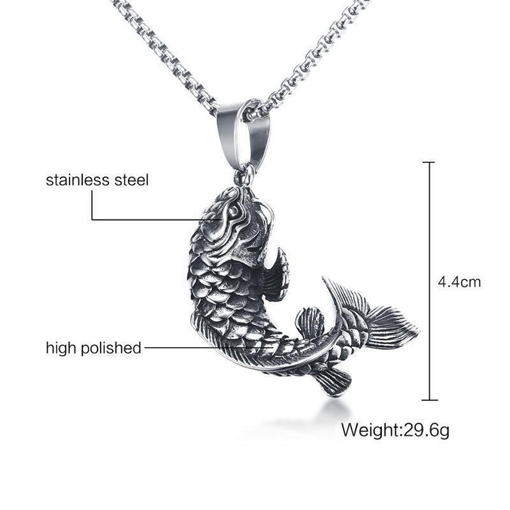 "CNS Deals Men Necklace Chinese Lucky Carp Cyprinoid Fish Pendant Necklace 24"" Chain"