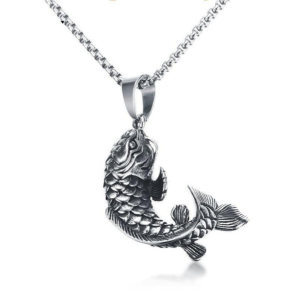 "Chinese Lucky Carp Cyprinoid Fish Pendant Necklace 24"" Chain"
