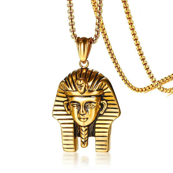 "Egyptian Pharaoh Pendant Necklace for Men 24"" Box Chain"
