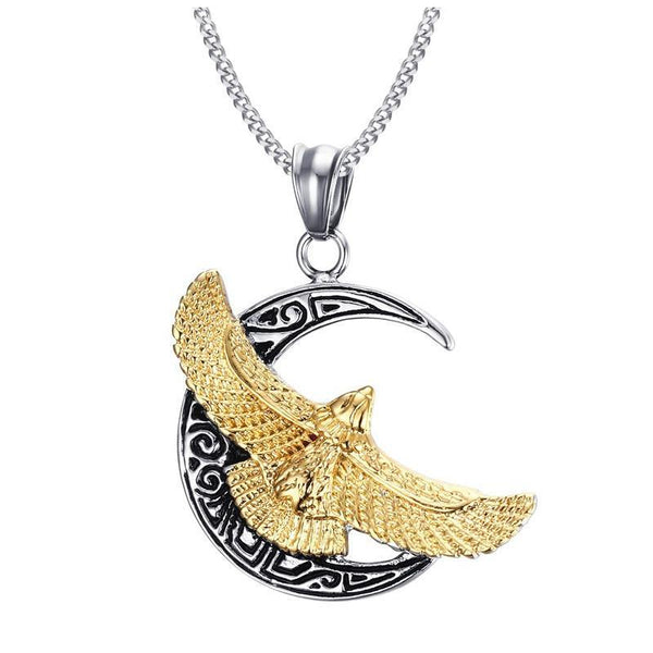 Men's Rock Punk Hawk Flying To The Moon Pendant Necklace