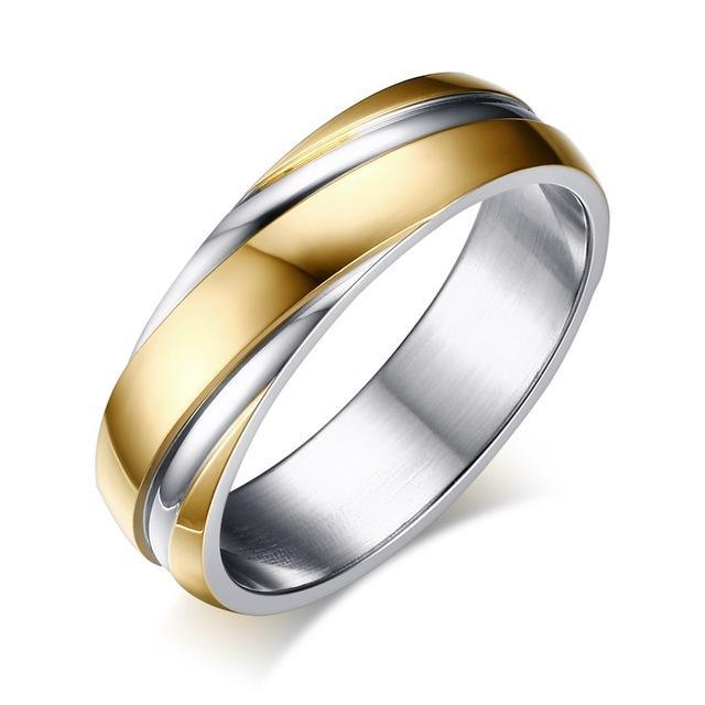 CNS Deals Men Ring 5 / gold color Stainless Steel Unique Contoured Ring Band for Women Men