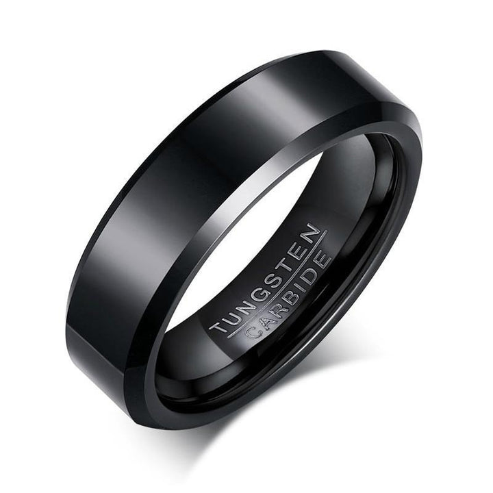 CNS Deals Men Ring Black Tungsten Carbide Men's Ring Wedding Engagement Band