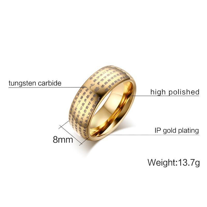 CNS Deals Men Ring Engraved Chinese Buddhist Texts Tungsten Ring for Men