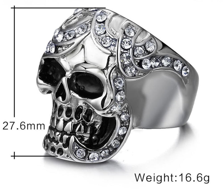 CNS Deals Men Ring Vintage Europe Crystal Skull Ring for Men Rock Punk