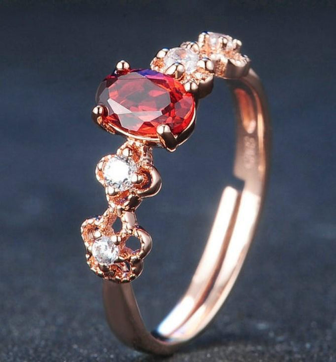 CNS Deals Natural Oval Red Garnet 18K Rose Gold Adjustable Ring