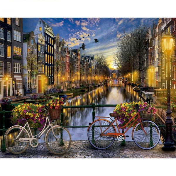 Amsterdam Bridge Bicycle View DIY Painting by Numbers on Canvas Wall Art Kit S711