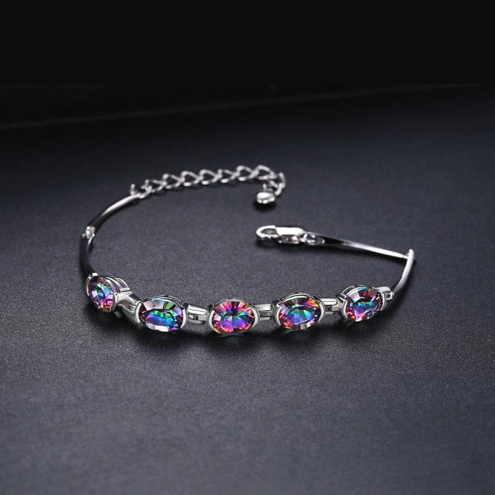 CNS Deals - The Deals Are Here Women Bracelet Natural Mystic Rainbow Topaz Bracelet with Tennis Link
