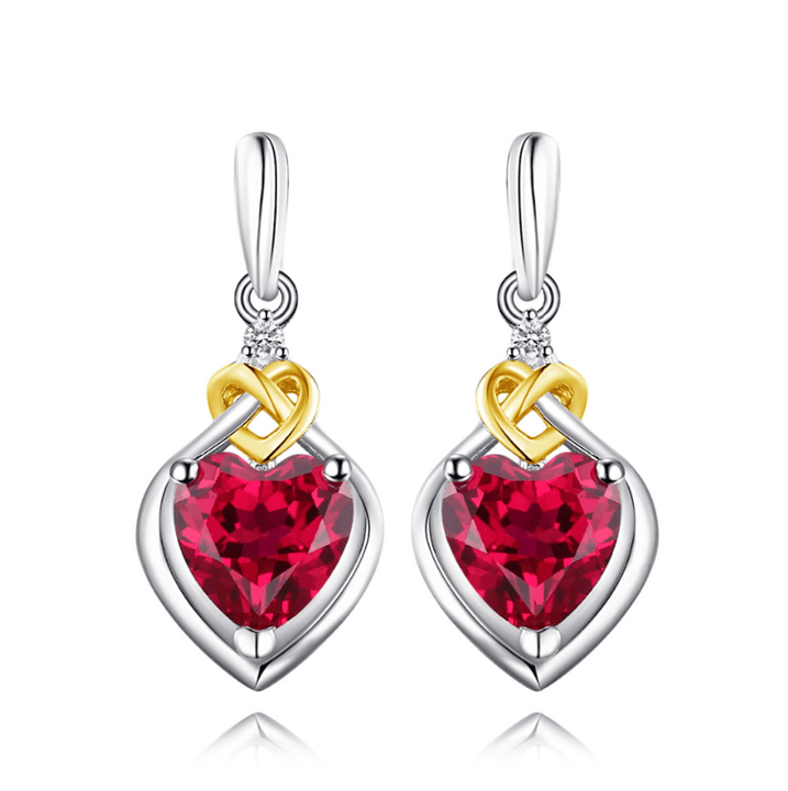 CNS Deals - The Deals Are Here Women Earrings Love Knot Heart 3.39ct Red Ruby Drop Dangle Earrings