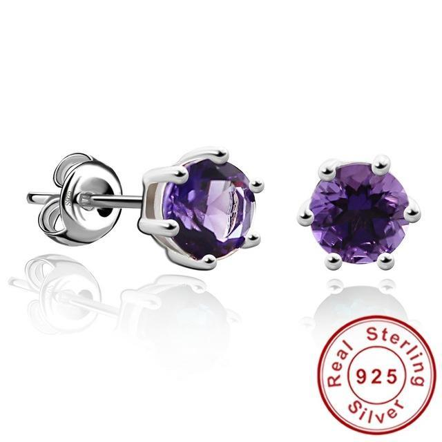 CNS Deals - The Deals Are Here Women Earrings Natural Amethyst / United States Round 1.2ct Gemstone Natural Amethyst Citrine Garnet Peridot Blue Topaz Stud Earrings